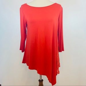 BOBEAU Women's Red Crochet Detail Tunic Size M